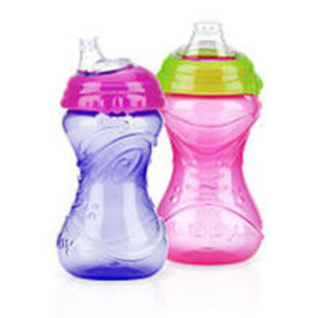 Nuby 10 Ounce No Spill Clik-It Gripper Cup with Soft Silicone Spout - 2-Pack - Girls