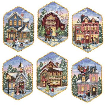 "Dimensions Gold Collection Counted Cross Stitch Kit 5"" Long-Christmas Village Ornaments (18 Count)"
