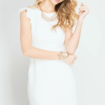 Ruffle Sleeve Work it White Fitted Shifted Dress