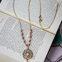 Dream Catcher Necklace in Pink