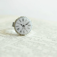 Vintage style clock face inspired ring,polymer clay,silver tone ring setting