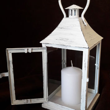Vintage white lantern, Candle lanterns, Outdoor decor,  Lantern wall decor, Rustic lantern, Wedding lanterns