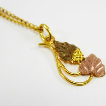 10K & 12K Black Hills Gold Necklace and Rose Gold, Yellow Gold Laviliere Pendant w/ Grape leaves Vintage 2018 2019 BHG Jewelry, Gift for Her