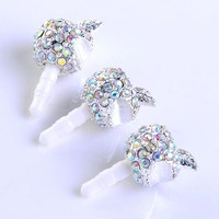 1pc Ab Crystal Appple Anti Dust Ear Cap Plug Stopper for Iphone 4/4s Ipod