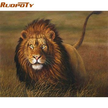 RUOPOTY Grassland Beast Lion DIY Painting By Numbers Handpainted Oil Painting Animals Paint By Numbers For Living Room Artwork