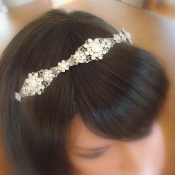 Wedding headband, rhinestone and pearl tiara, bridal headband, vintage style headband, crystal head piece