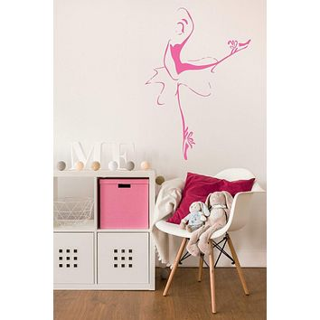 Ballerina Dance Pose Ballet Studio Large Vinyl Decal Art Sticker Wall Decor Mural Unique Gift (m628)