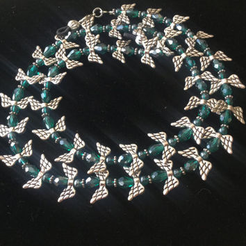 Teal and Silver Eyeglass Chain