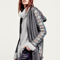 Free People Womens Embroidered Hood Cardigan - Charcoal