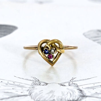Antique Love Knot Shamrock Ring, Victorian 15k Heart Rose Cut Diamond Ruby Sapphire Irish Bride Bohemian Jewelry Alternative Engagement Ring