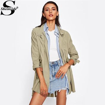 Sheinside Green Contrast Sleeve Elastic Waist Utility Jacket Women's Casual Jacket With Zipper 2017 Autumn Street Style Jacket