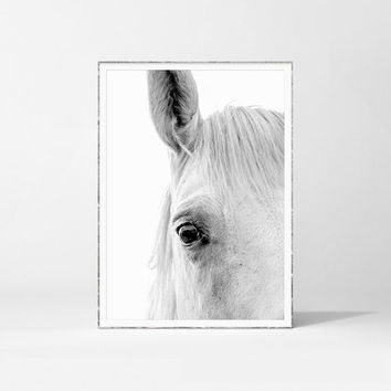White Horse Print, Horse Poster, Horse Photography, Animal Printable, Horse Wall Art, Black & White, Scandinavian Print, Animal Photography