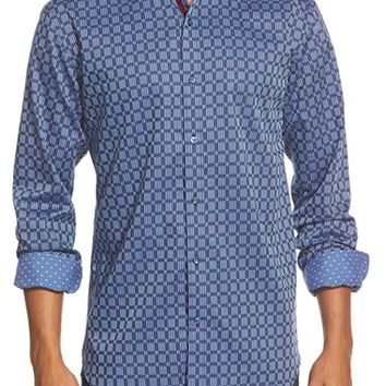 Men's Bugatchi Shaped Fit Check Sport Shirt,