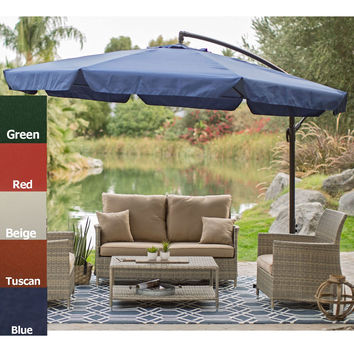 Green 11-Ft Offset Patio Umbrella Gazebo with Canopy Base & Detachable Mosquito Netting