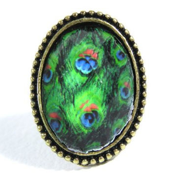 Peacock Crystal Cocktail Ring Adjustable Antique Feather RD22 Statement Art Deco Fashion Jewelry