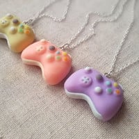 Tiny game controller necklace, gamer girl necklace, video games, pastel goth jewelry, fairy kei necklace, kawaii charm, best friend