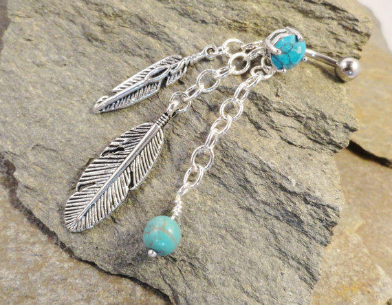 Turquoise Dangle Belly Button Jewelry Ring with Feathers and Silver Chain