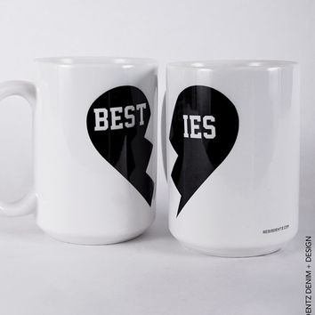 Besties Mug Set - 11 oz. Coffee and Tea Mug - 15 oz. Coffee and Tea Mug - Printed on Both Sides - Home Decor - Gift Idea - Set of TWO