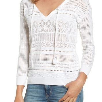Tommy Bahama Pickford Pointelle Split Neck Sweater | Nordstrom