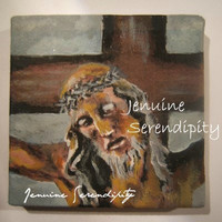3x3 inch miniature acrylic on canvas Jesus painting OOAK