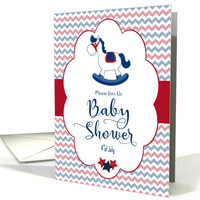 4th of July Baby Shower Invitation with Rocking Horse card