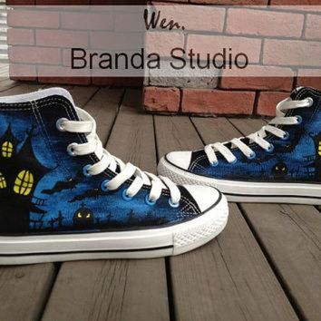 VONR3I 2013 Halloween Vampire Studio Hand Painted Shoes 51.99Usd,Paint On Custom Converse Sho