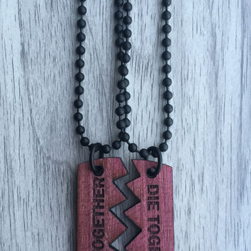 Real Purple Heart Ride Together / Die Together 2 Piece Necklace - LIMITED EDITION