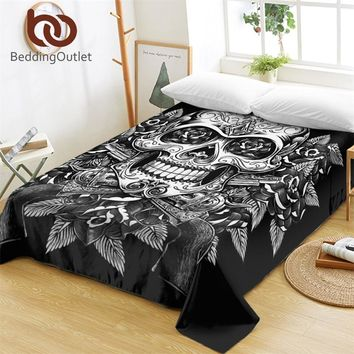 BeddingOutlet Floral Skull Bed Sheets One Piece Flowers Vintage Flat Sheet Soft Bedding Sugar Skull Gothic Bedspreads sabanas