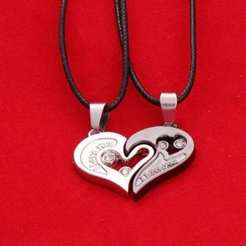 Wholeheartedly Lovers Necklace Heart Shaped Diamond Pendant Valentine Gift Couple Pendant