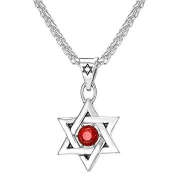 SHIP BY USPS: U7 Jewish Jewelry Megan Star of David Pendant Necklace Women Men Chain Black Gun Plated/18K Gold Plated/Stainless Steel Israel Necklace - 2 Styles (Classic David Star,Red Rhinestone Star)