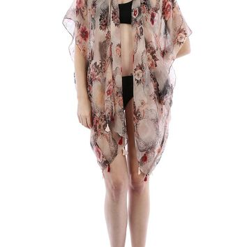 White Floral Doily Print Sheer Cover Up Poncho