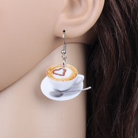 Coffee Latte Acrylic Artisan Earrings