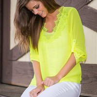 Ready Set Glow Blouse, Neon Lime