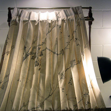 Vintage Pinch Pleat Drapes Silky Mid Century Curtains
