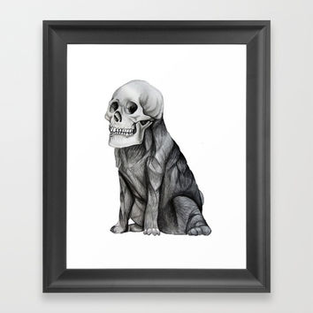 skullpug // A brutal pug wearing a human skull made in pencil Framed Art Print by Camila Quintana S