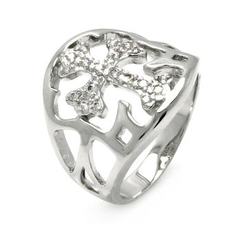 Ladies Jewelry Outline Cubic Zirconia Cross Rhodium Plated Brass Ring Width: 19.55 mm: Size: 5