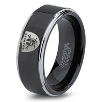 Oakland Raiders Ring Mens Fanatic NFL Sports Football Boys Girls Womens NFL Jewelry Fathers Day Gift Tungsten Carbide 118c