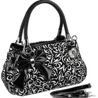 TWEED Black & White Floral w/Bow Satchel Bowler Hobo Handbag Purse Weave Double Handles: Clothing