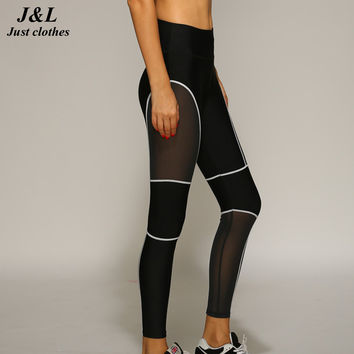 New Mesh Splicing Sexy Women Sporting Leggings Fitness Workout Slim Legging Leggins Leggigns High Elastic Lines Dry Quick Pants