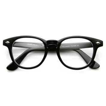 Trendy Optical RX Fashion Round Horned Rim Clear Lens Glasses 8711