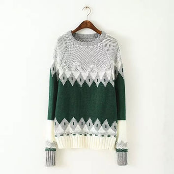 Winter Women's Fashion Geometric Pullover Sweater [6512970247]