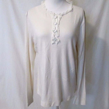 vineyard vines ruffled collar Henley Shirt Women's Large Off White Long Sleeves