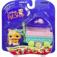 Littlest Pet Shop Orange Spring Kitten w Wagon 217