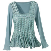 Aqua Renaissance Sequined Top - New Age & Spiritual Gifts at Pyramid Collection