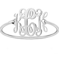 Monogram bracelet 1.25 inch Silver personalized bangle choose any initial made with 925 sterling silver