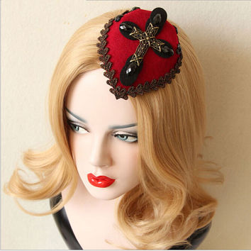 Gothic Cross Retro Top Hat Halloween Party Headwear Hairpins Vintage Hair Accessories