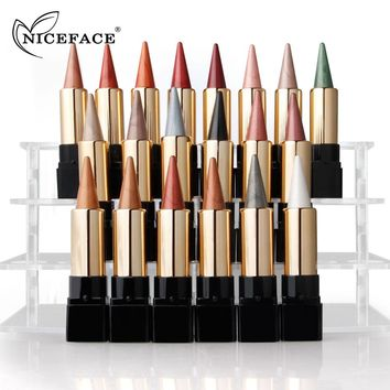 NICEFACE 20 Colors Professional Luminous Glitter Matte Shimmer Eye Shadow Palette Stick Applicator Cosmetic Makeup Easy to Wear