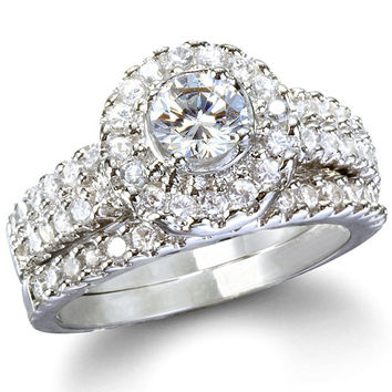 Sterling Silver Halo Round cut CZ Antique Style Wedding Ring Set Size 5-9