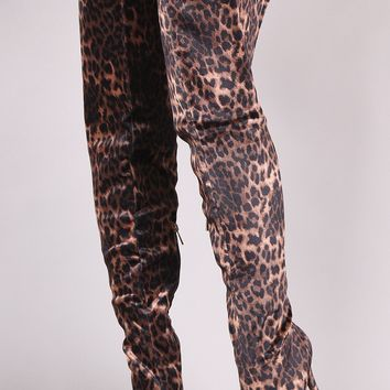 Anne Michelle Velvet Leopard Pointy Toe Stiletto Over-The-Knee Boots
