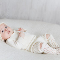 Baptism Christening gown 4 piece set off white ivory hat sweater bloomers lace socks Knit Baby clothes